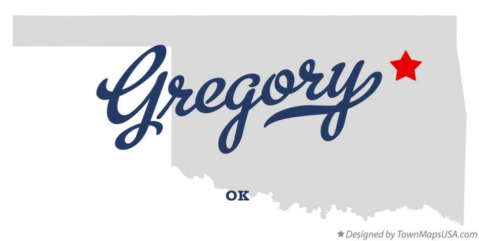 Map of Gregory Oklahoma OK