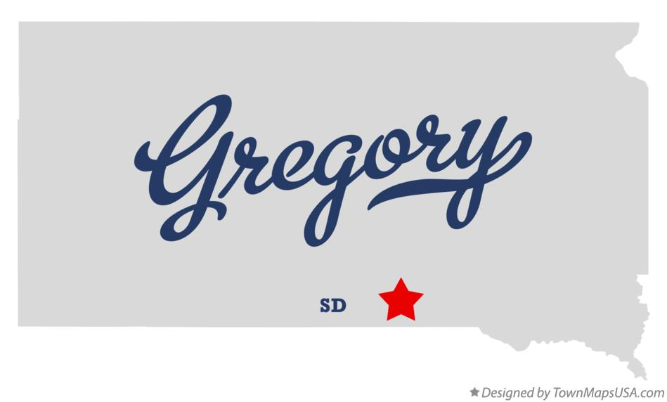 Map of Gregory South Dakota SD