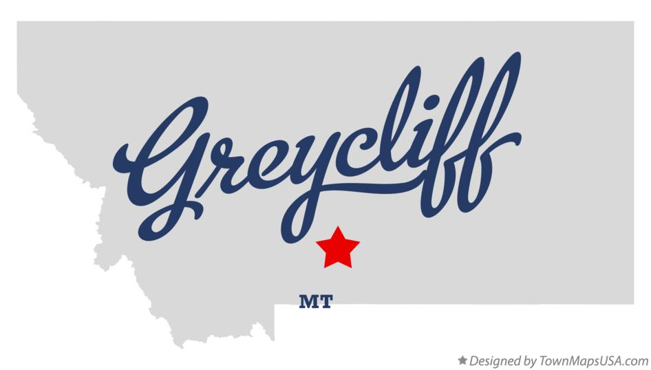 Map of Greycliff Montana MT