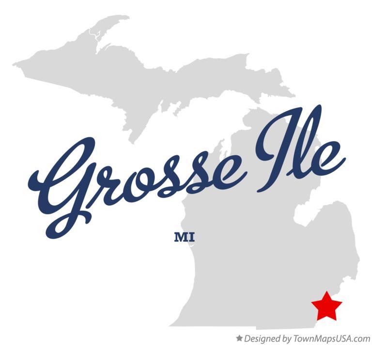 Map of Grosse Ile, MI, Michigan
