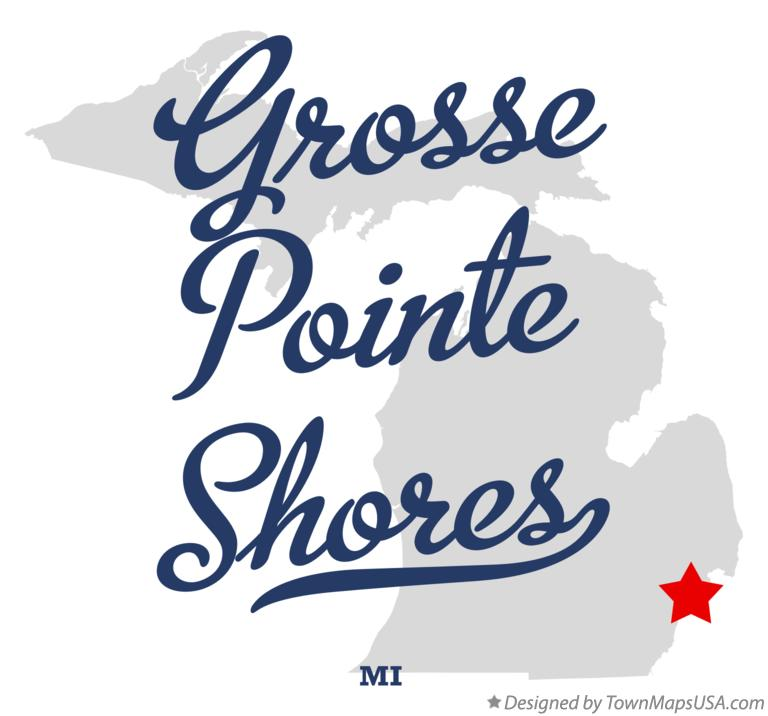 Map of Grosse Pointe Shores Michigan MI