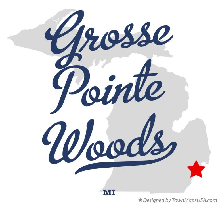 Map of Grosse Pointe Woods Michigan MI