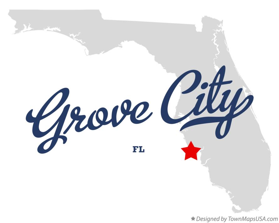 Map of Grove City Florida FL
