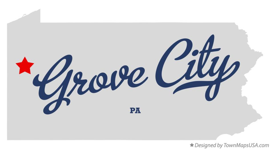Map of Grove City Pennsylvania PA