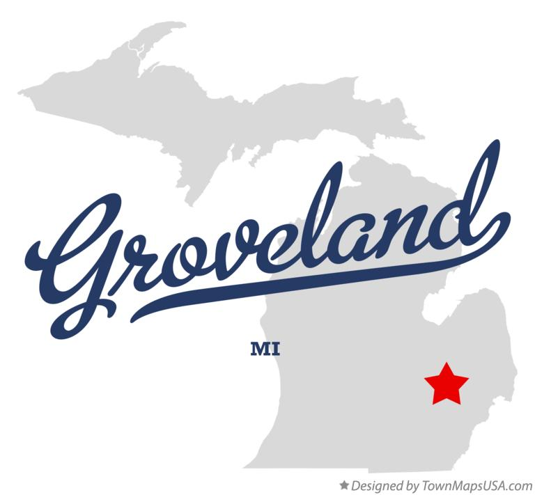 Map of Groveland Michigan MI