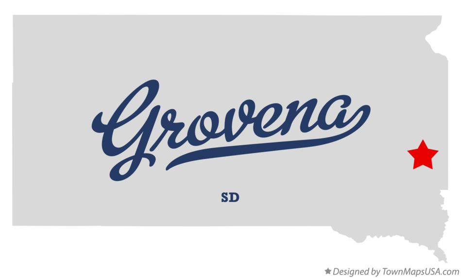 Map of Grovena South Dakota SD