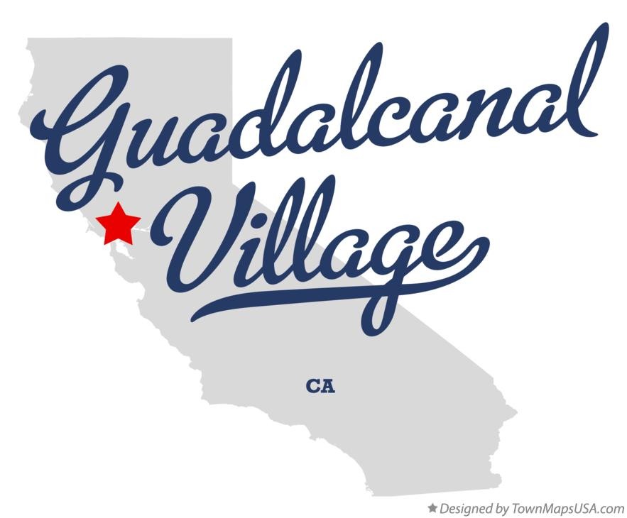 Map of Guadalcanal Village California CA