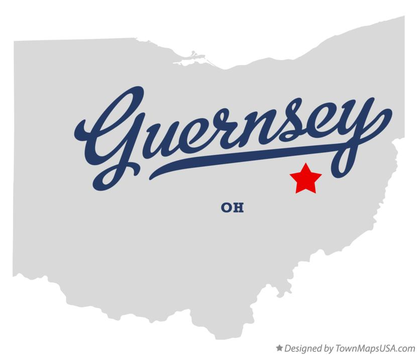 Map of Guernsey Ohio OH