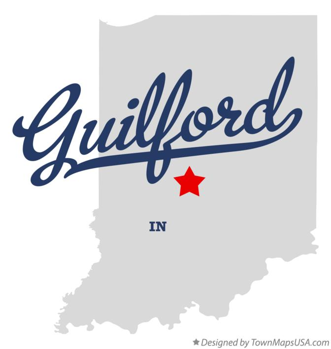 Map of Guilford Indiana IN