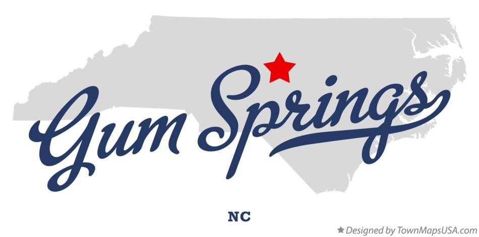 Map of Gum Springs North Carolina NC