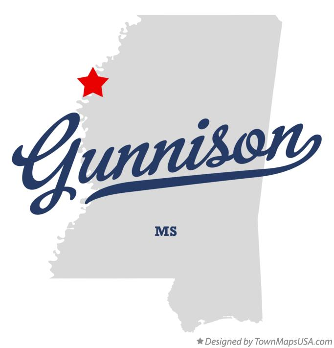 Map of Gunnison Mississippi MS