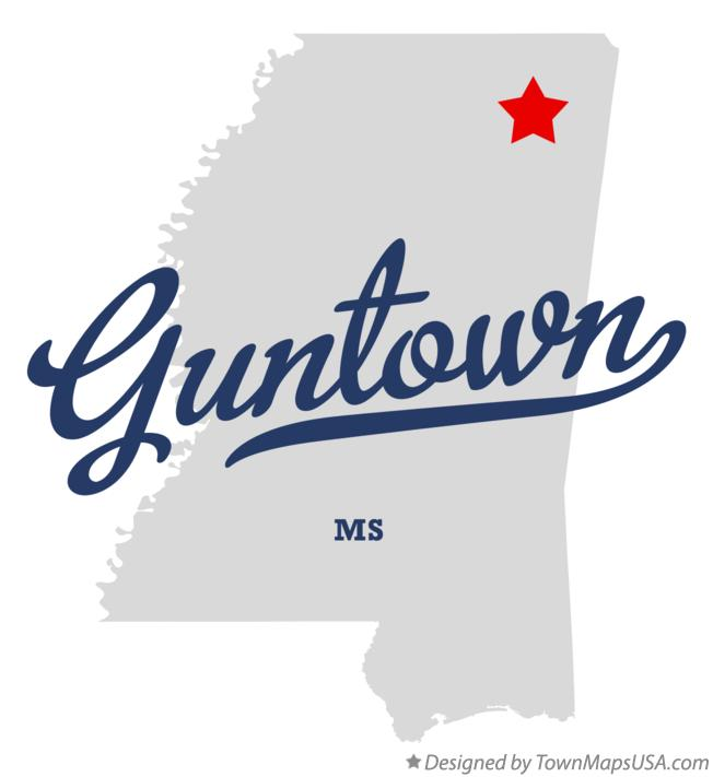 Map of Guntown Mississippi MS