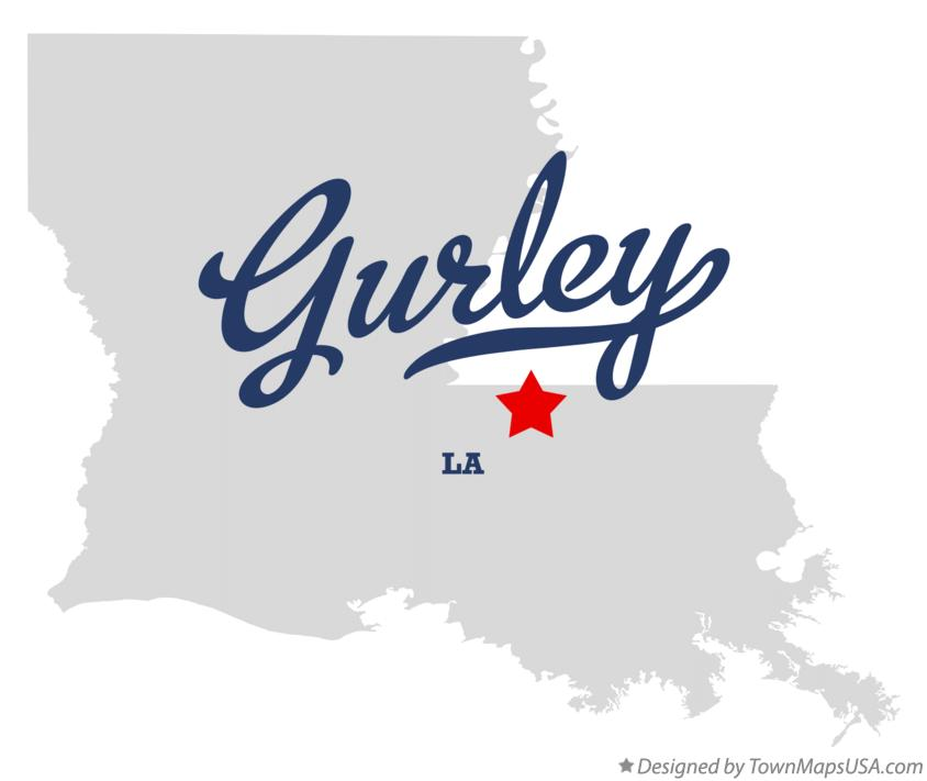 Map of Gurley Louisiana LA