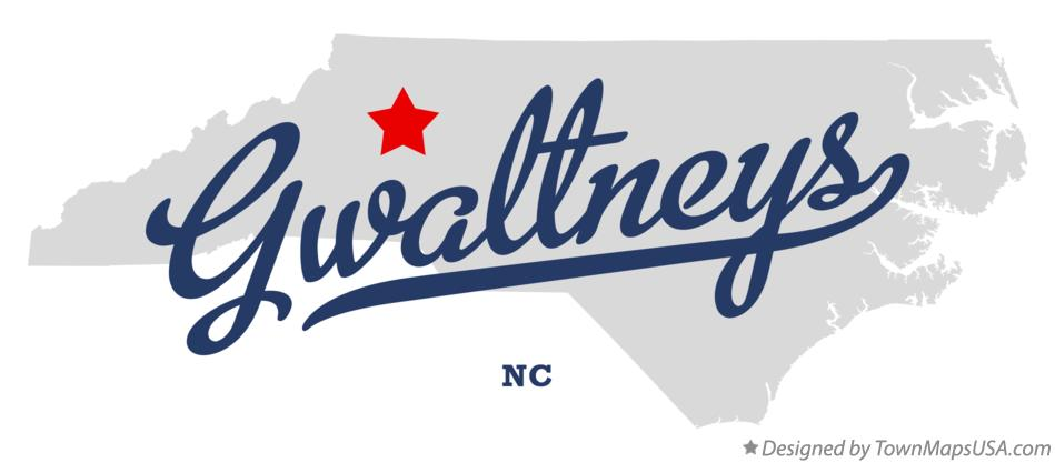 Map of Gwaltneys North Carolina NC