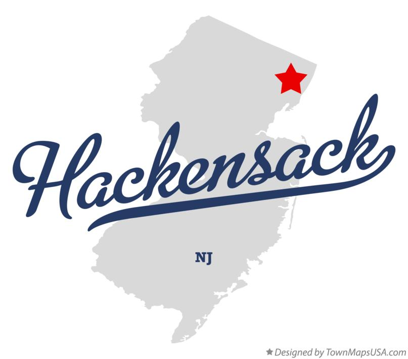 Map of Hackensack New Jersey NJ