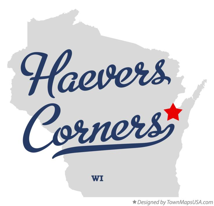 Map of Haevers Corners Wisconsin WI
