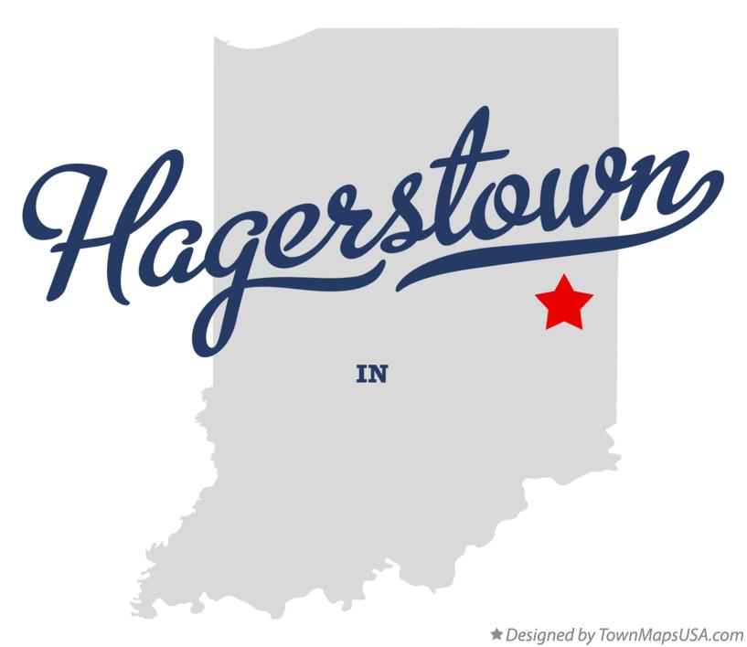 Map of Hagerstown Indiana IN