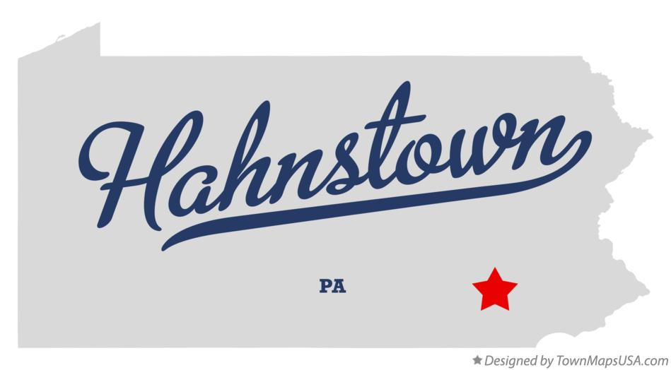 Map of Hahnstown Pennsylvania PA