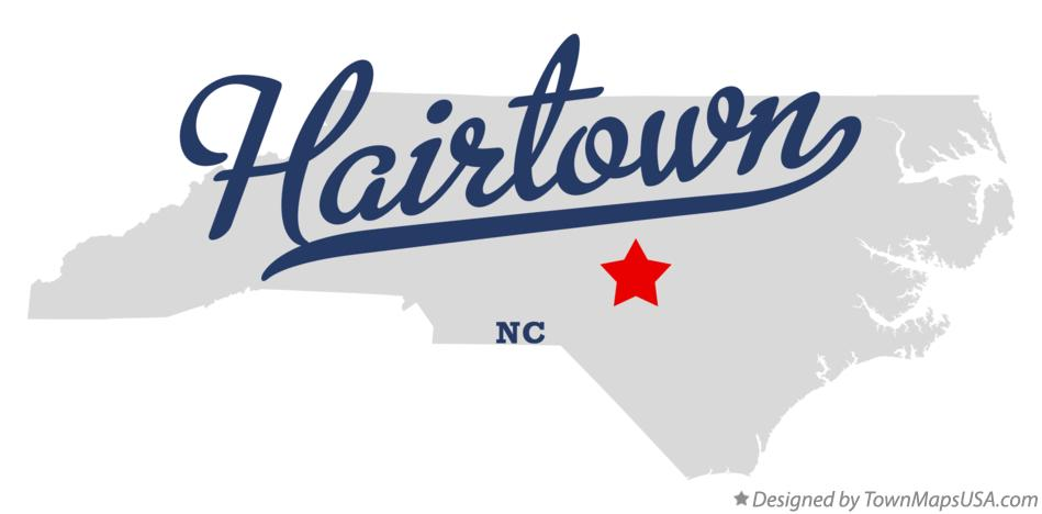 Map of Hairtown North Carolina NC