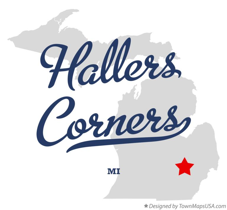 Map of Hallers Corners Michigan MI