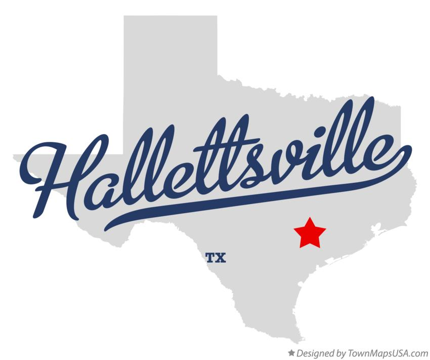 Map of Hallettsville Texas TX