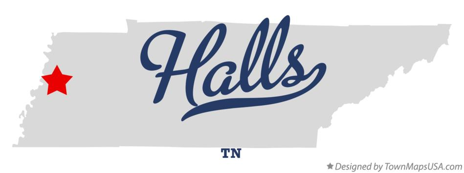 Map of Halls Tennessee TN