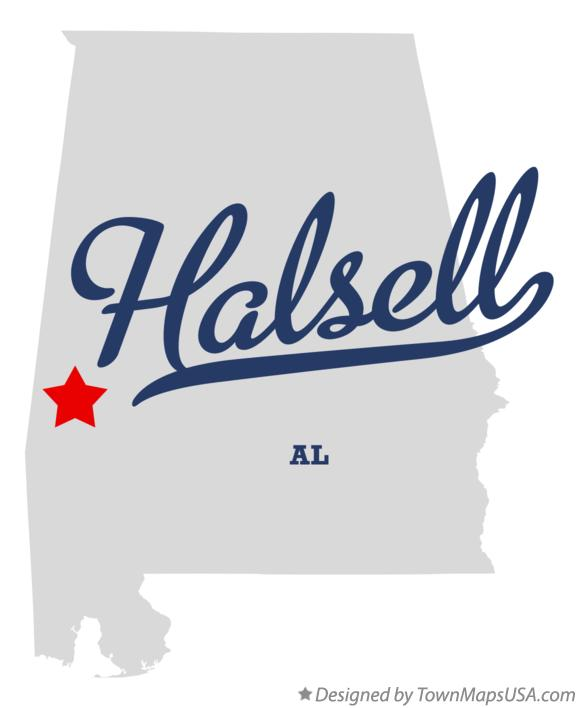Map of Halsell Alabama AL