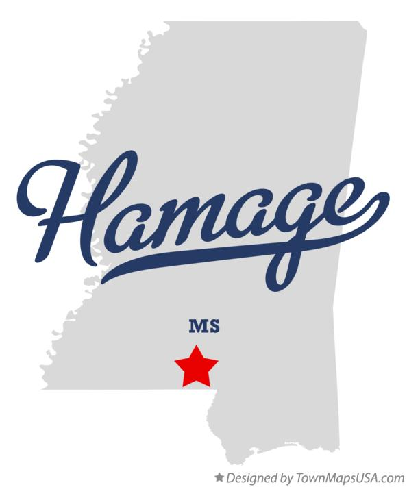 Map of Hamage Mississippi MS