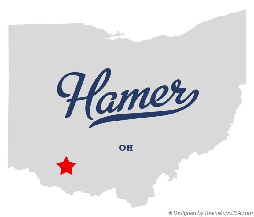 Map of Hamer Ohio OH