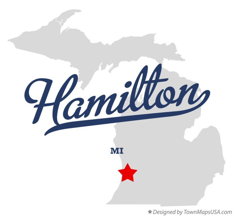 Map of Hamilton Michigan MI