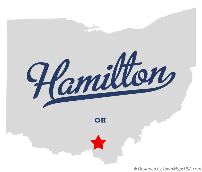 Map of Hamilton Ohio OH