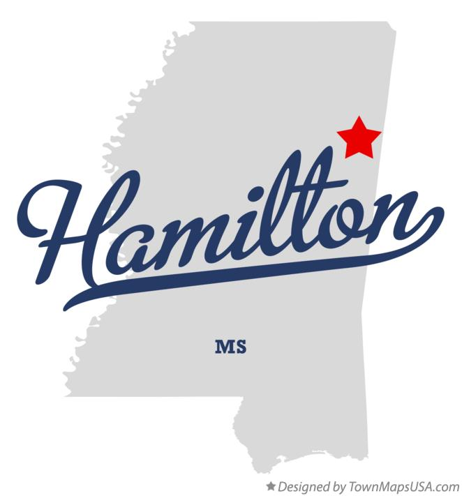 Map of Hamilton Mississippi MS
