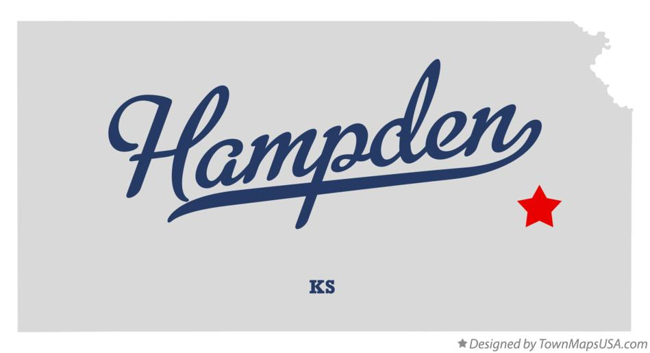 Map of Hampden Kansas KS