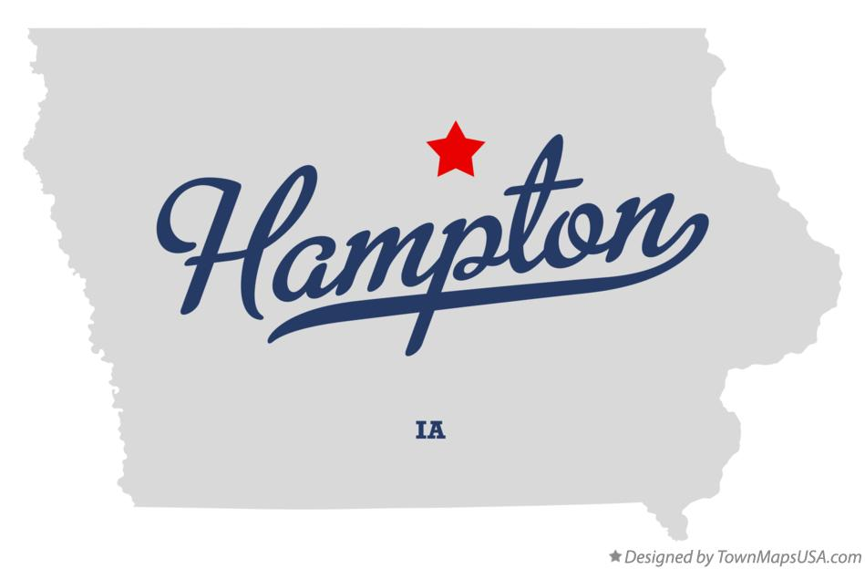 Map of Hampton Iowa IA