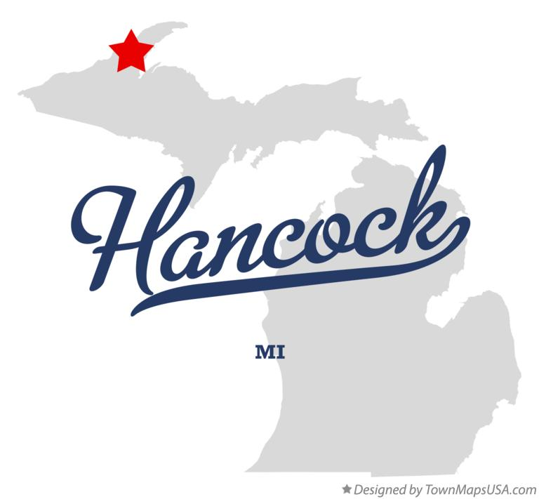 Map of Hancock Michigan MI