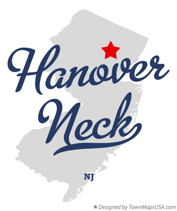 Map of Hanover Neck New Jersey NJ