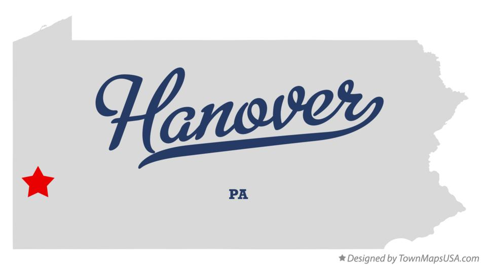 Map of Hanover Pennsylvania PA