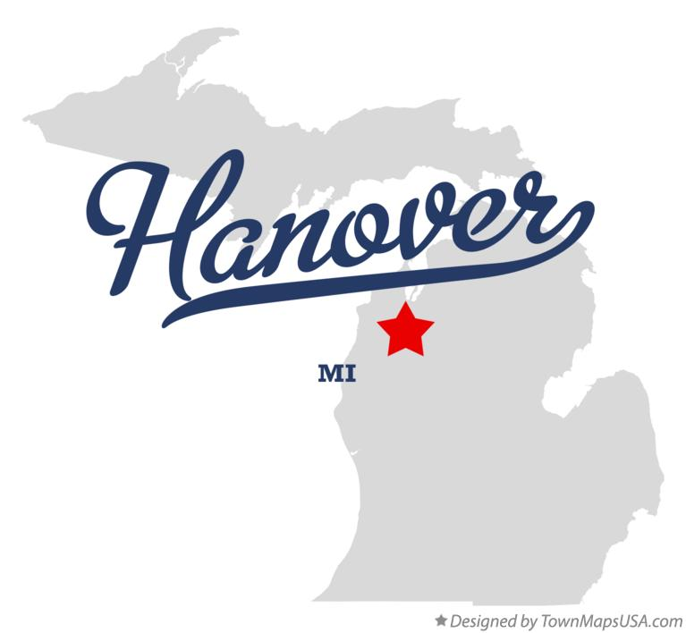 Map of Hanover Michigan MI