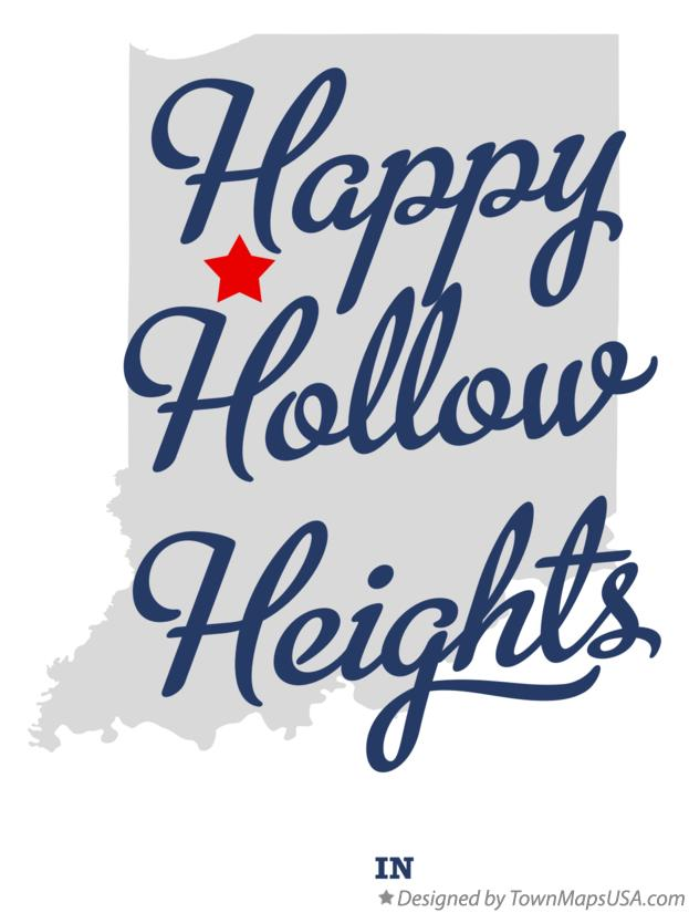 Map of Happy Hollow Heights Indiana IN