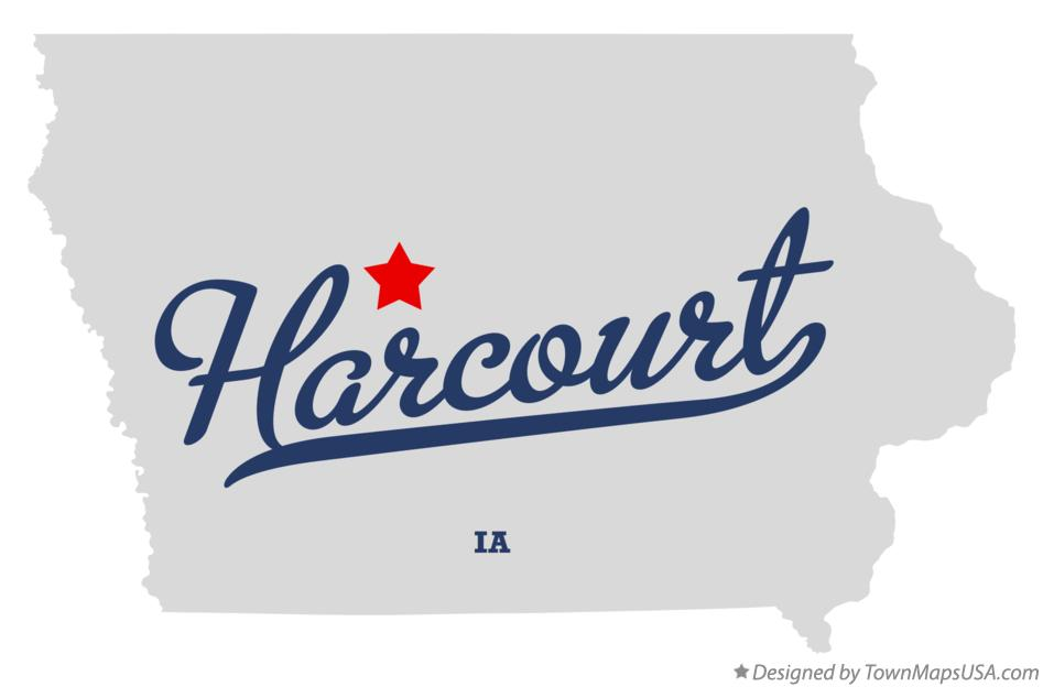 Map of Harcourt Iowa IA