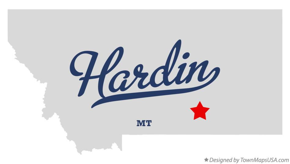 Map of Hardin Montana MT