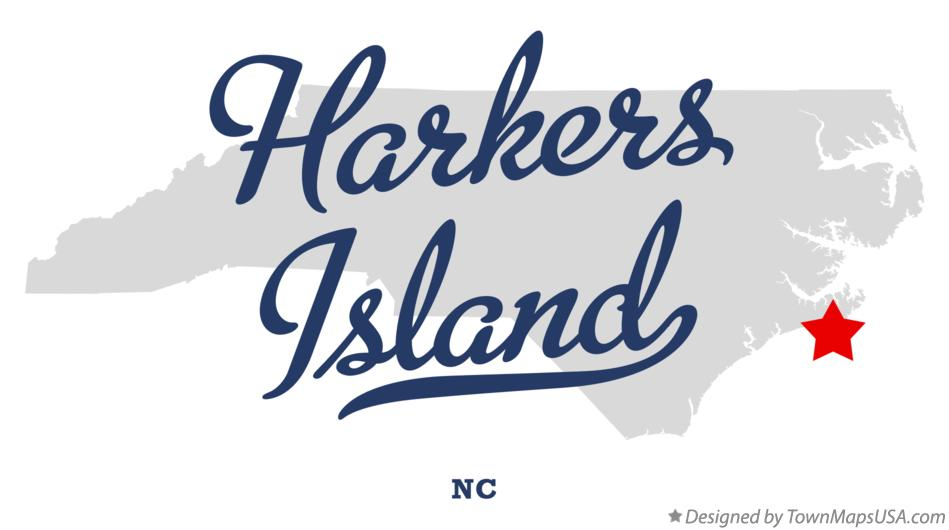 Map of Harkers Island North Carolina NC