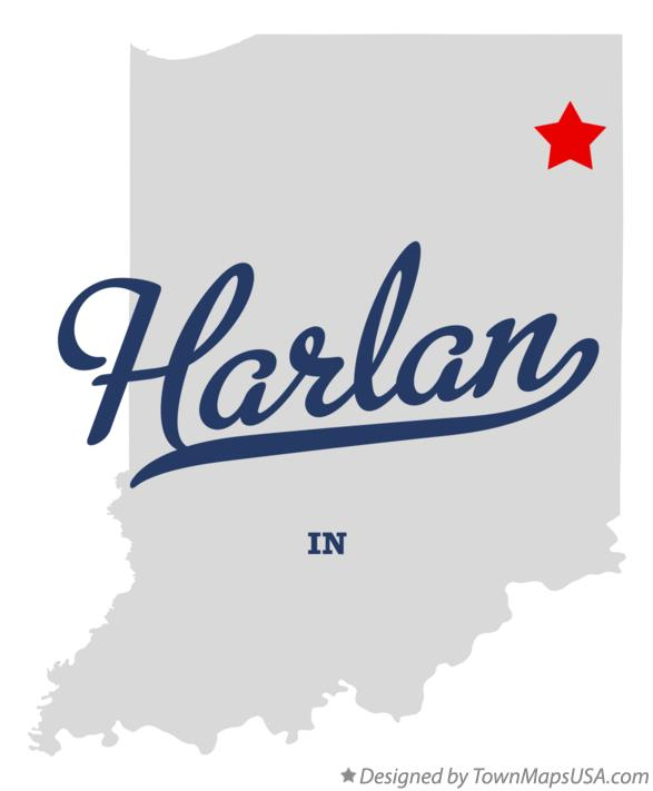 Map of Harlan Indiana IN