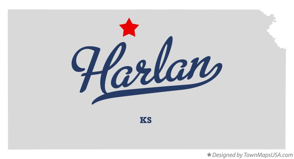 Map of Harlan Kansas KS