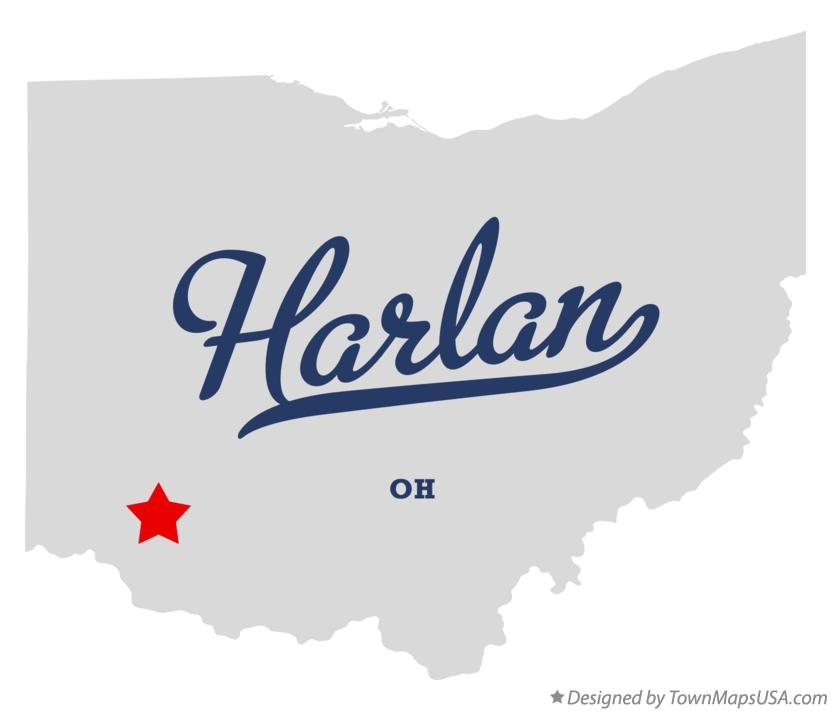 Map of Harlan Ohio OH