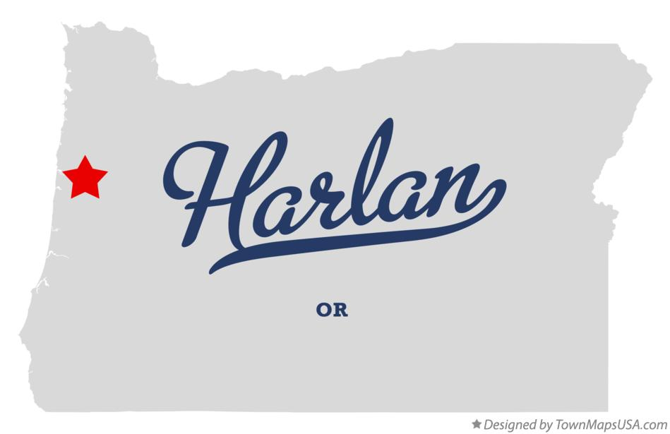 Map of Harlan Oregon OR