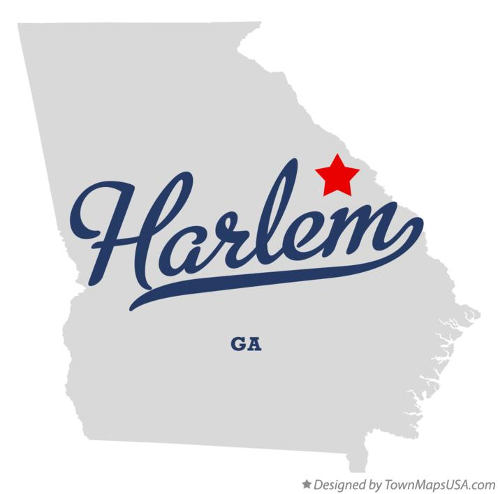 Map of Harlem Georgia GA