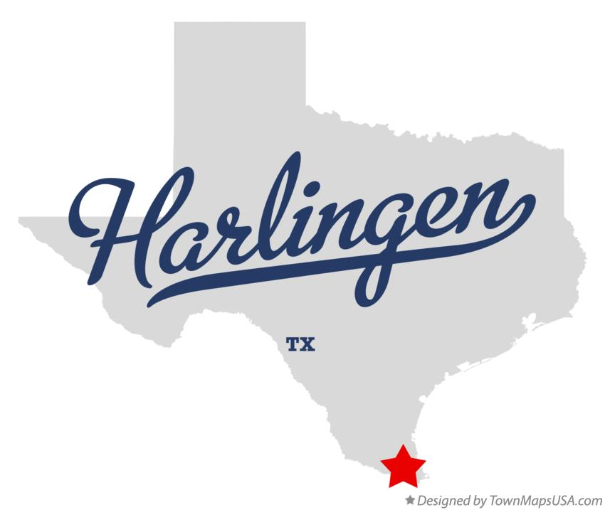 Map of Harlingen Texas TX