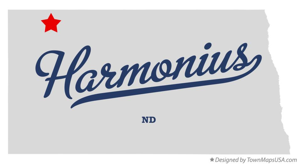 Map of Harmonius North Dakota ND