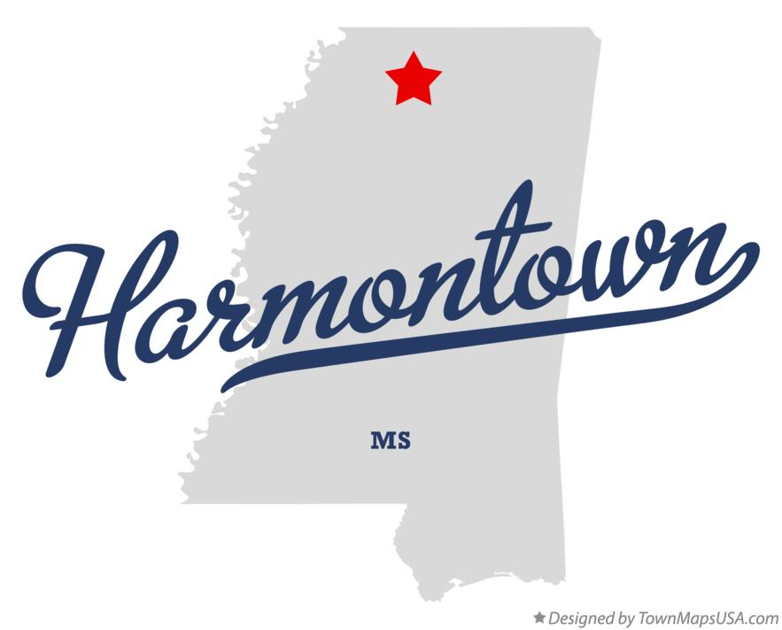 Map of Harmontown Mississippi MS